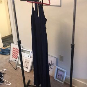 Navy maxi dress with side cut out